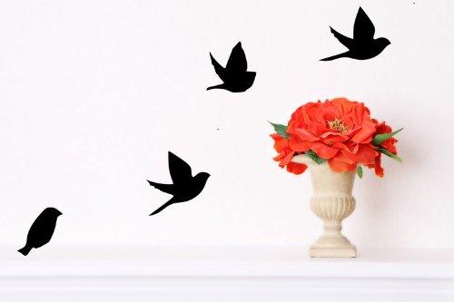 amazoncom flying birds black item type keyword wall decor stickers patio lawn garden - Bird Wall Decor