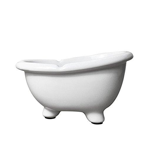 YOURNELO Ceramic Simple Mini Bathtub Shape Flower Pot Cigarette Ashtray (White) - Shape Bathtub
