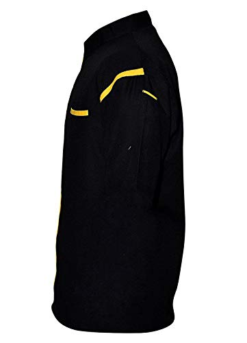 BMS Creation HN-06 Men's Chef Coat with Yellow Piping (Size- L, Black Colour)