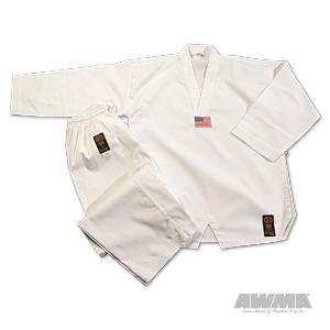 - Pro Force Gladiator 7.5oz Ribbed Taekwondo Uniform - White - Size 1