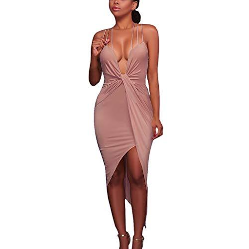 Women Summer Dress,Qingell Pure Color Sleeveless Tight Fitting Bandage V Collar Dress Club Party Cocktail Dress Khaki