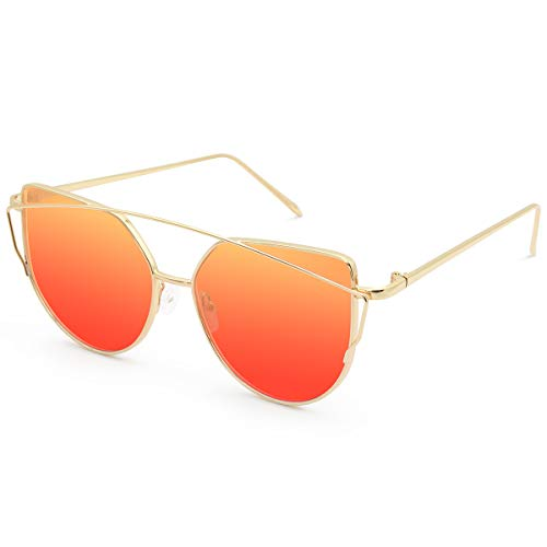 Livhò Sunglasses for Women, Cat Eye Transparent Flat Lenses Metal Frame Sunglasses UV400 (Golden Orange Red)