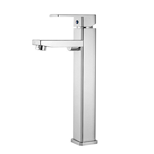LORDEAR SLC16026 Modern Brass Waterfall One Hole Single Handle Chrome Bathroom Lavatory Vanity Tub Vessel Bathroom Sink Faucet, High Deck Mount Basin Vessel Sink Faucet Deck Mount Faucets Bathroom Sink