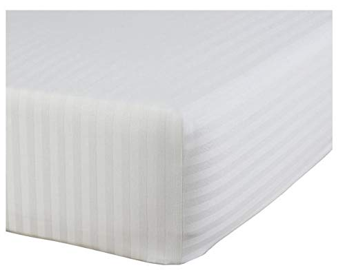 """Chenille Linen Collections 800 Thread Count 100% Egyptian Cotton Ultra Soft 1 Piece Fitted Sheet (Bottom Sheet Only) 15"""" Deep Pocket Premium Quality Cal-King Size White Stripe Color"""