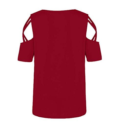 Tunique Col Shirts Rouge Courtes Rond Large Femme Imprim Jeune Chemisiers Haut Off Casual Manches Plage Shoulder Mode Tshirt Tunique Et xgRnq1