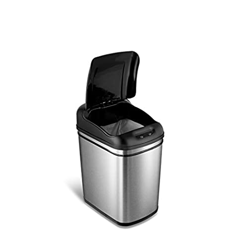 NINESTARS DZT-24-1 The Original Touchless Automatic Motion Sensor Trash Can, 6.3 Gal. / 24 L., Stainless (6 Stainless Steel Trash Ring)