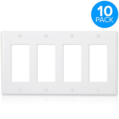 Maxxima 4 Gang Decorative Outlet Wall Plate, White, Standard Size (Pack of 10) - Light Wall Quad