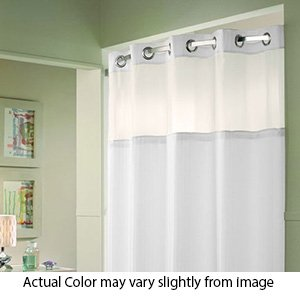"""71"""" x 74"""" - White - Double H - Heavy - Hotel Quality - Hookless Shower Curtain w/Liner"""