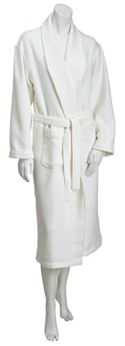 Aquis Microfiber Shawl Collar Robe, Waffle, White, Small/Medium