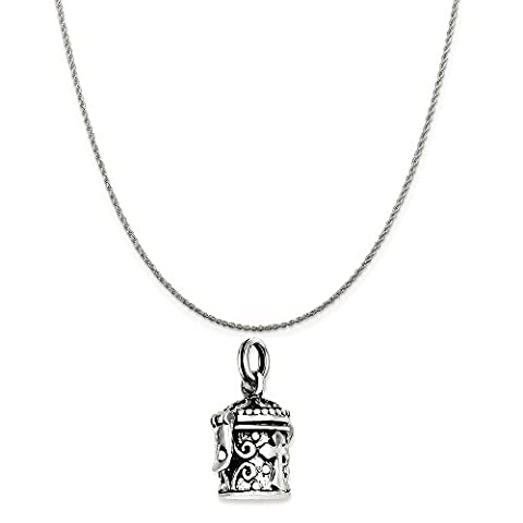 Sterling Silver Antiqued Cross Prayer Box Charm on a Sterling Silver Rope Chain Necklace, 20