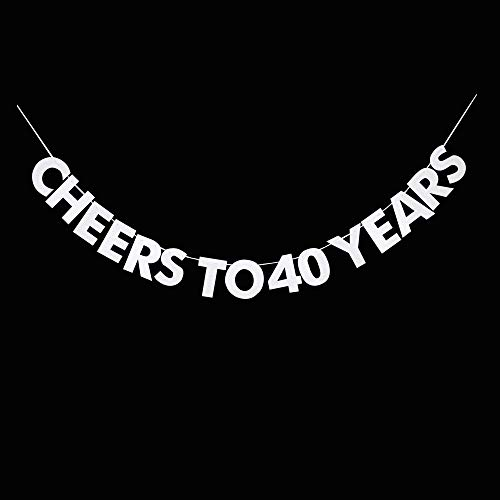 Cheers to 40 Years Banner, 40th Birthday, Wedding Anniversary, Retirement Party Bunting Sign Decorations Photo Props, Party Favors, Supplies, Gifts, Themes and Ideas ()