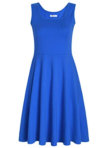 A-line Square Neck - Pintage Women's Square Neck Sleeveless A Line Tank Dress M Royal Blue