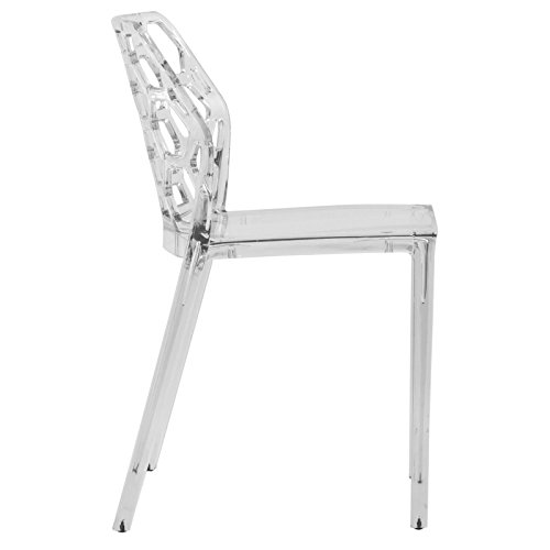 LeisureMod Lowell Modern Stackable Honeycomb Design Dining Side Chair Clear