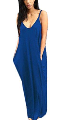 Casuale Sera donne Da Fionda Blu Tasca Puro Lungo Assetto Coolred Maniche Vestito 68wRpnwvq