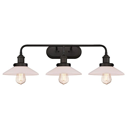 Westinghouse Lighting 6336500 Abigail Three-Light Indoor Wall Fixture, Oil Rubbed Bronze Finish with Frosted White Opal Glass, 3 Shade