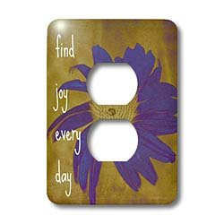 3dRose LLC lsp_41170_6 Purple Flower Find Joy Every Day Inspirational Quotes Art 2 Plug Outlet Cover by 3dRose (Image #3)