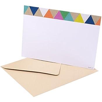 Hallmark Single-Panel Notecards (Triangle Trim, 50 Cards and Envelopes)