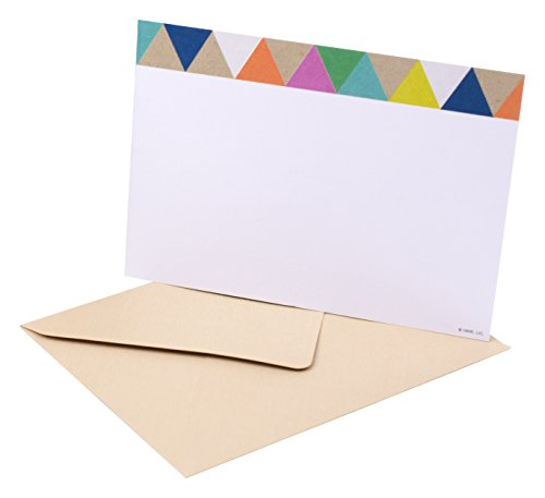 Hallmark Blank Note Cards with Envelopes (Stationery Box Set of 50 Blank Cards), Triangle Trim - 5WMW5529