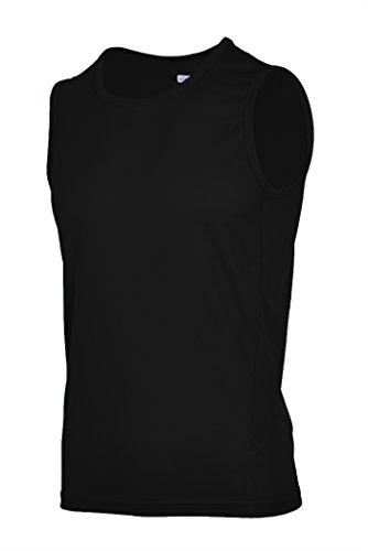 H.MILES Men's Classic Tee Fitness Sleeveless Shirt for Training Black Large (Tech Sleeveless Shirt)