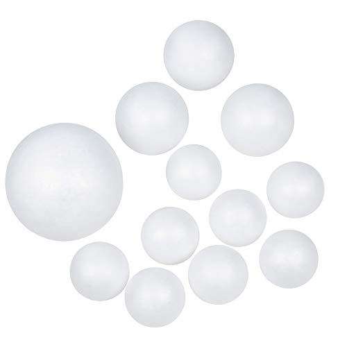 Craft Foam Balls - 12-Piece White Polystyrene Foam Balls for DIY Craft and Modeling, 3-Inch, 4-Inch, ()