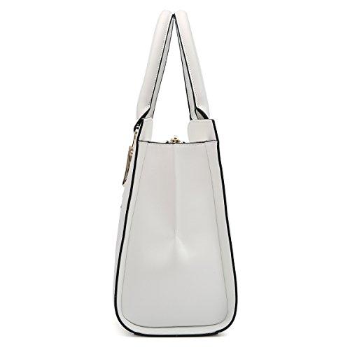 en bandoulière Sac Kadell Vintage femme Bag Sac Tote bandoulière main Blanc Sacs à à à cuir marron q6xFBtA6