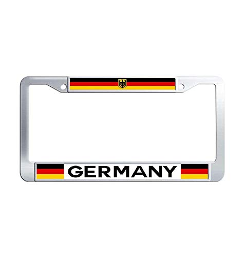 Toanovelty Germany Flag Metal Auto License Plate Frame, Waterproof Stainless Steel Auto License Tag Holder 6' x 12' in -