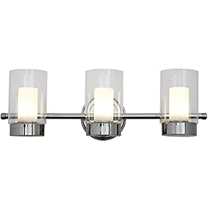 Polished Nickel Candle Light Fixture | Glass Surrounded LED Lighting Fixture | Vanity, Bedroom, or Bathroom | Interior Lighting Triple Light