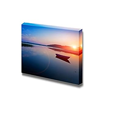Canvas Prints Wall Art - Sunrise Over The Lake. The First Rays of Sun. - 24