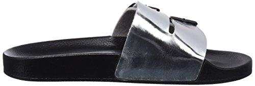 Ouvert Franklin Femme Slides Bout silver Metal Argent Sandales Buckle D wHaAx7a4