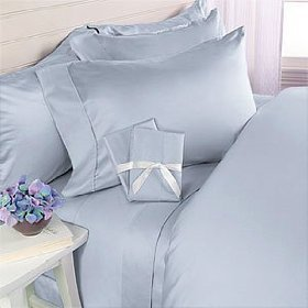 Set of 2 Solid Blue King size pillowcases 450 thread count 100% Cotton by sheetsnthings ()