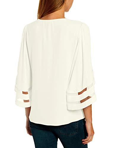ACKKIA Women's Casual V Neck 3/4 Bell Sleeves Blouse Mesh Panel Shirt Summer Top