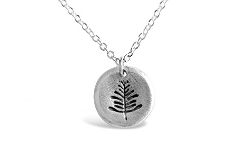 Rosa Vila Dainty Leaf Necklace - Simple Round Plate Leaf Dainty Necklace for Women (Silver Tone) (Silver Plate Tone)