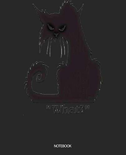 Notebook: Angry Black Cat Soft Matte Cover Wide Ruled Blank Lined Soft Cover Boys Girls Kids Elementary School Journal Paper 7.5 x 9.25 Inches 110 Pages