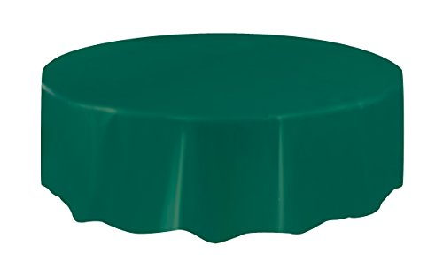 Round Forest Green Plastic Tablecloth, 84