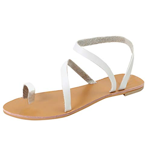 - HOSOME Women Rome Beach Sandals Summer Open Toe Breathable Casual Slip-On Flat Shoes White
