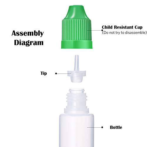 12 Piezas 1 Onza/ 30 ml Botella de Líquido Cuentagotas con Punta Delgada de Plástico LDPE Botella Exprimible Tapas de Dispensador en Colores Mezclados con 5 ...
