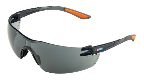 Encon Nascar 442 Wraparound High Performance Safety Eyewear with Orange Tip, Gray Lens, Gray - Sunglass Nascar