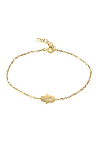 14k gold hamsa bracelet with diamond, single diamond hamsa