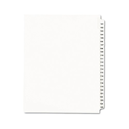 Avery 01334 Index Dividers, Side Tab, 101-125, 8-1/2