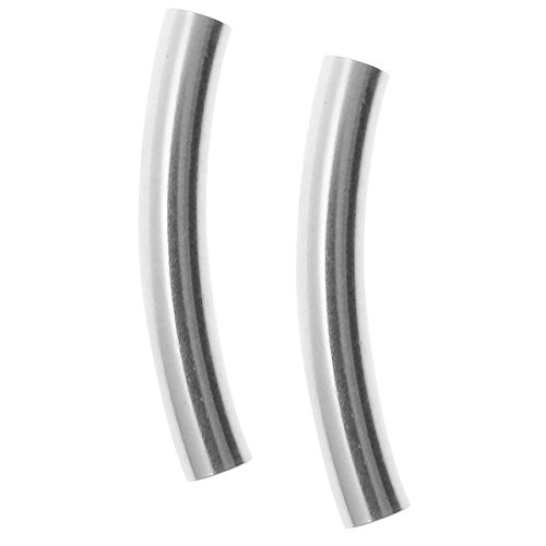 Beads Curve Silver Tube Sterling (4 pcs 925 Sterling Silver 3mm Curve Round Tube Spacer Bead 20mm)