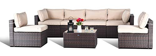 Gotland 7-Piece Outdoor PE Rattan Sectional Sofa- Patio Garden Wicker Furniture Set,Brown