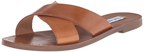 d8a05b607e4 Steve Madden Women's Dryzzle Flat Slide Sandal, Cognac Leather, 7 M US