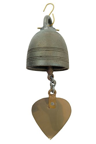 Garden Bronze Bell (Design by UnseenThailand Bronze Temple Bell Wind Chime, Thailand Pattern Décor for Home And Garden. (Bronze))