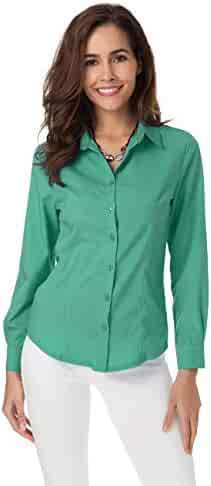 08a7255048b1 Atnlewhi Womens Basic Long Sleeve Button Down Shirts Simple Pullover  Stretch Formal Casual Shirt