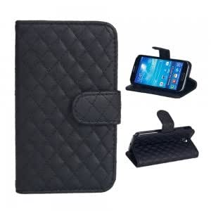 PU Leather and Plastic Protective Case with Check Pattern for Samsung S4 i9500 Black