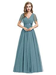 Ever-Pretty Women's Double V-Neck Empire Waist Front Wrap Bridesmaid Dress 7962