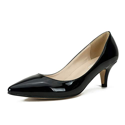 Women's Classic Slip On Pointed Toe Kitten Heel Dress Pumps Shoes Patent Black 39 - US 7.5