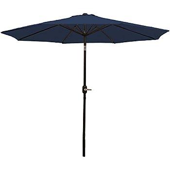 Sunnydaze Navy Blue Aluminum 9 Foot Patio Umbrella With Tilt U0026 Crank