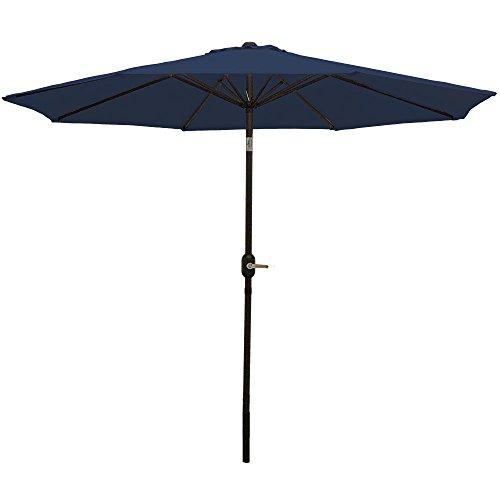 Sunnydaze 9 Foot Outdoor Patio Umbrella with Tilt & Crank, Aluminum, Navy Blue -