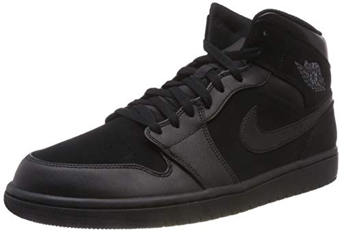 Nike Jordan Mens Air Jordan 1 Mid Leather Synthetic Black Dark Grey Trainers 11 US